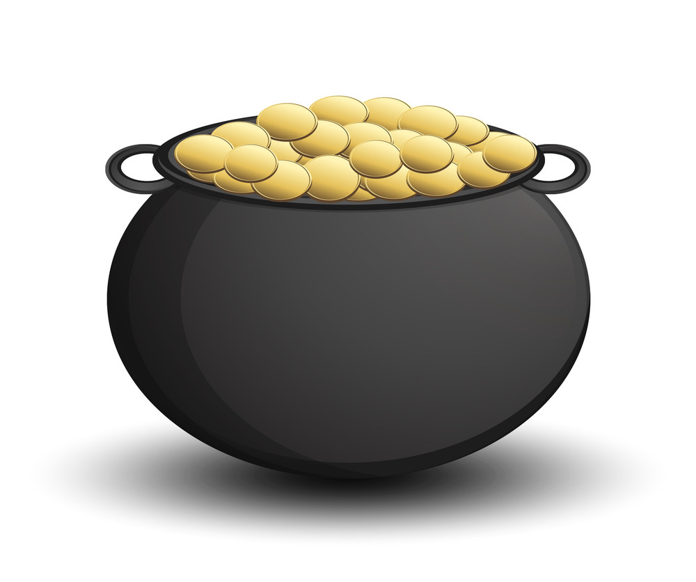 Gold Coins Cauldron Vector Object