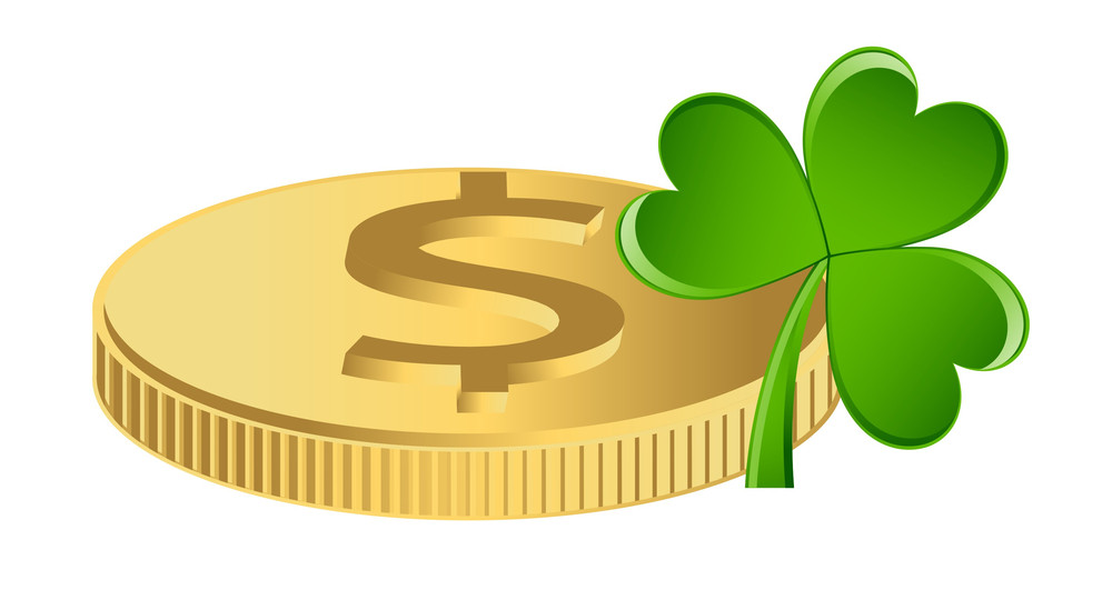 Gold Dollar With Clover Leaf