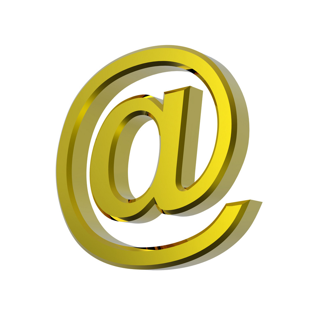 Gold E-mail Sign Isolated On White.