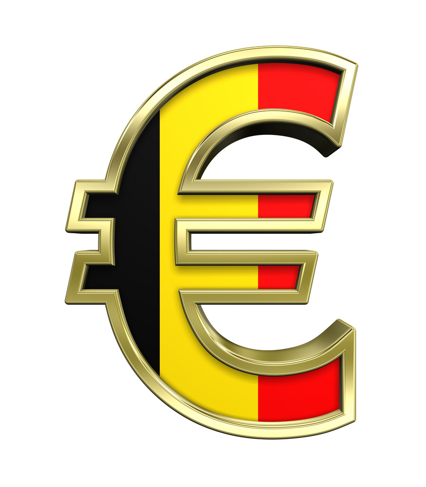 Gold Euro Sign With Belgian Flag Isolated On White.