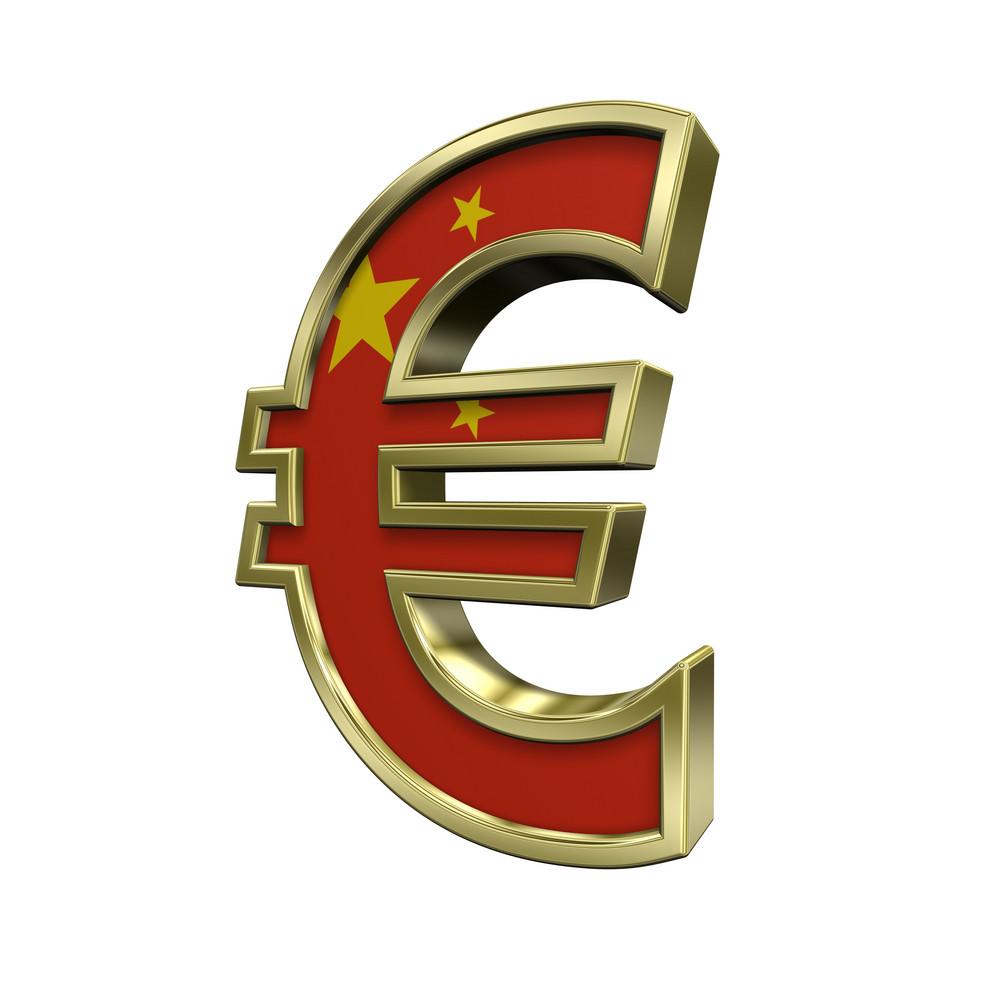 Gold Euro Sign With China Flag Isolated On White.