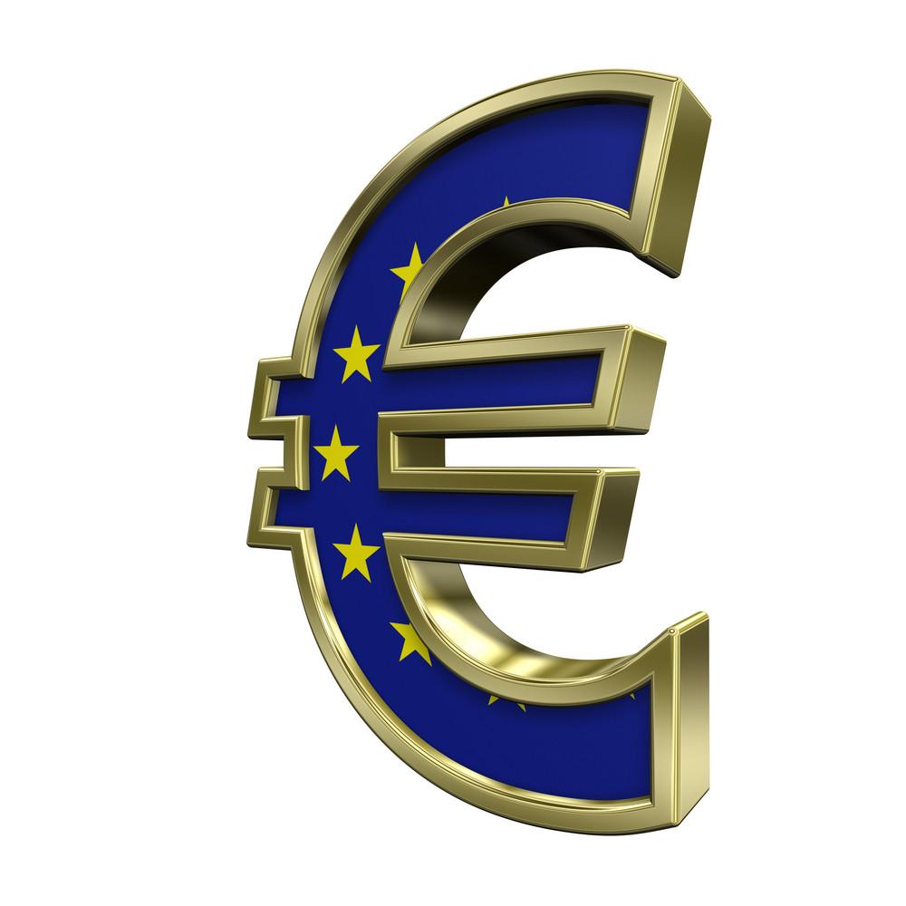 Gold Euro Sign With European Union Flag Isolated On White.