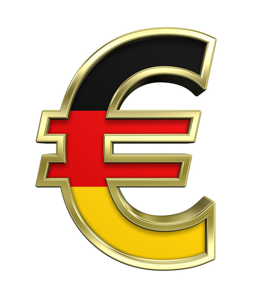 Gold Euro Sign With Germany Flag Isolated On White.
