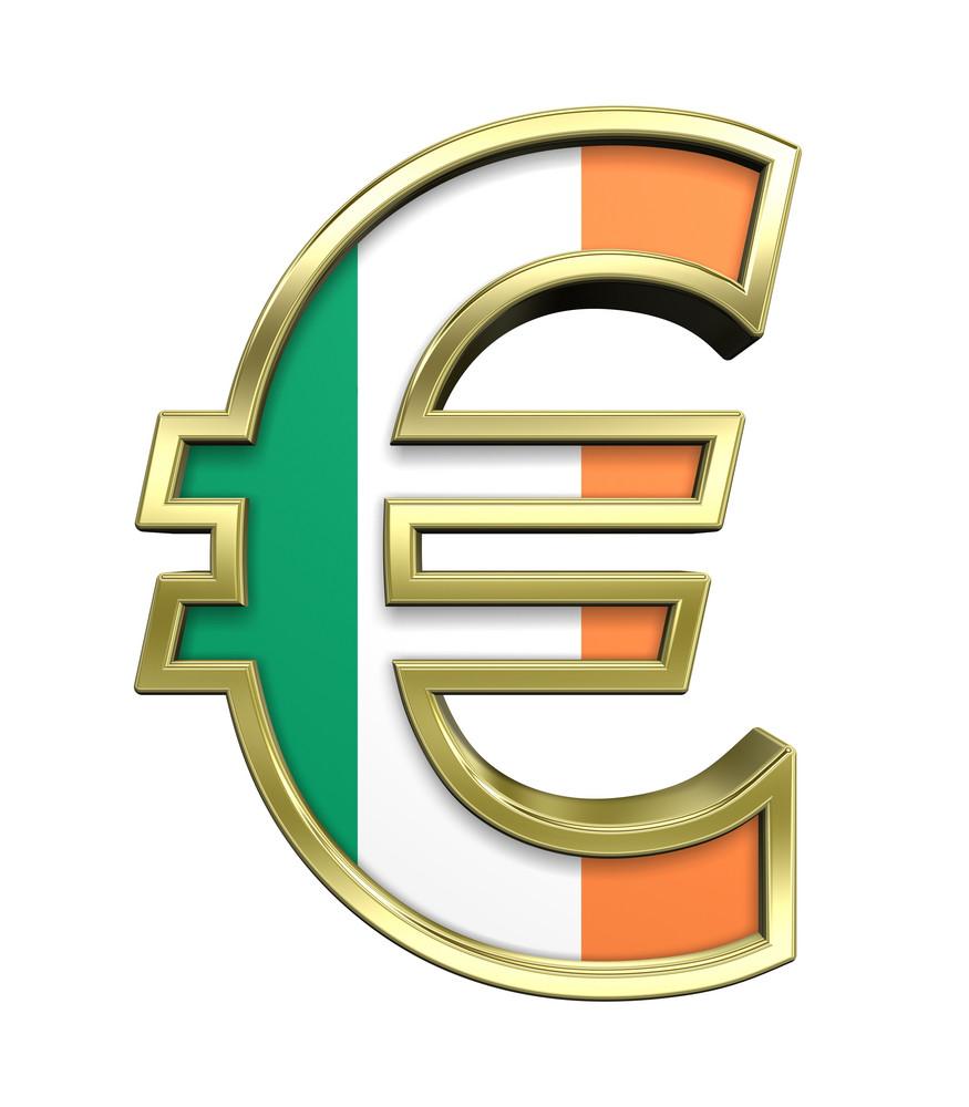 Gold Euro Sign With Ireland Flag Isolated On White.
