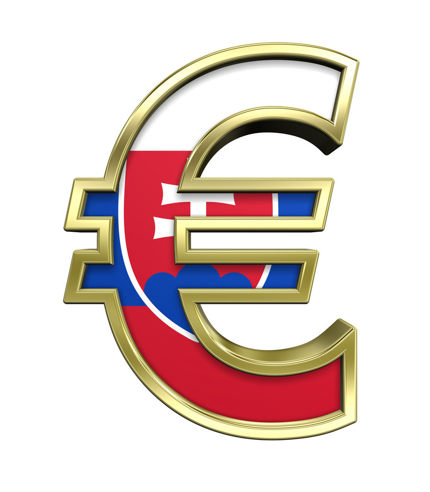Gold Euro Sign With Slovakia Flag Isolated On White