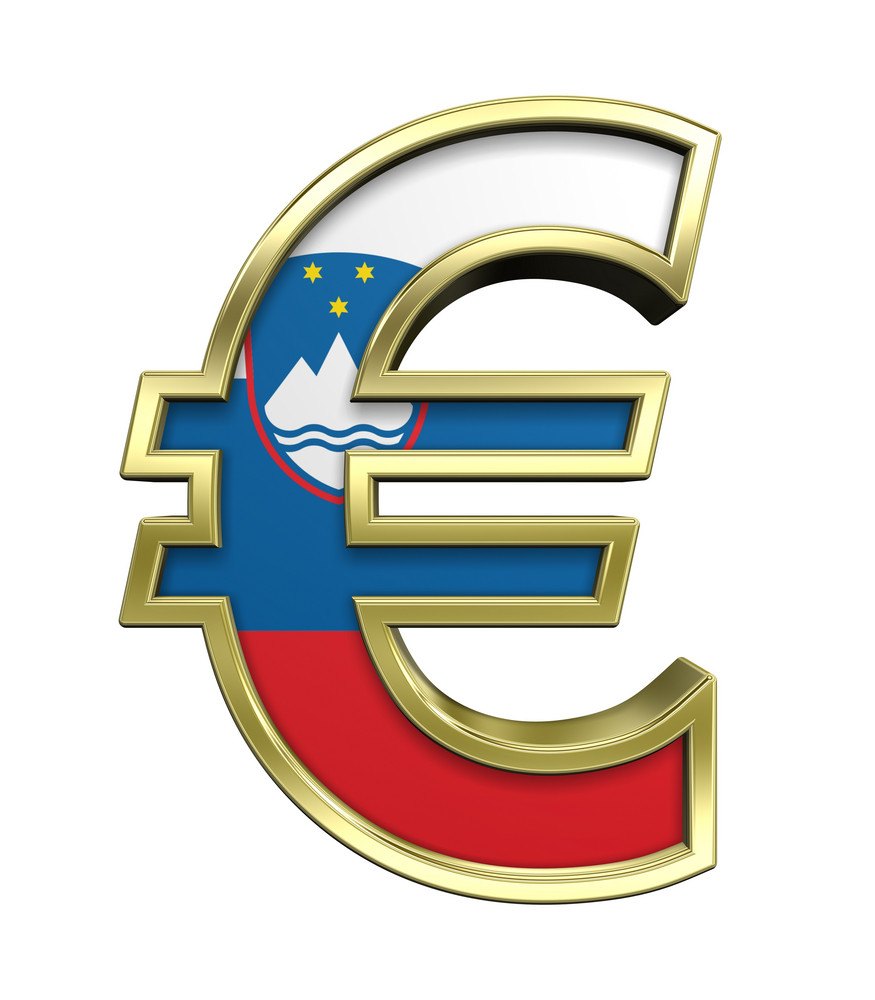 Gold Euro Sign With Slovenia Flag Isolated On White.