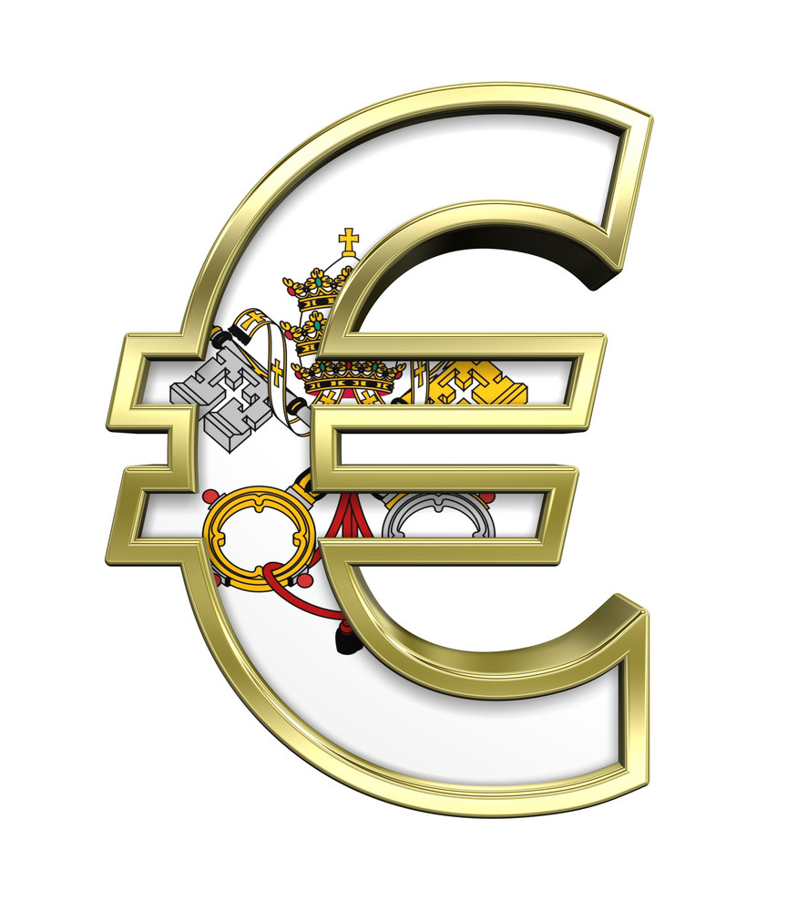 Gold Euro Sign With Vatican City Flag Isolated On White.