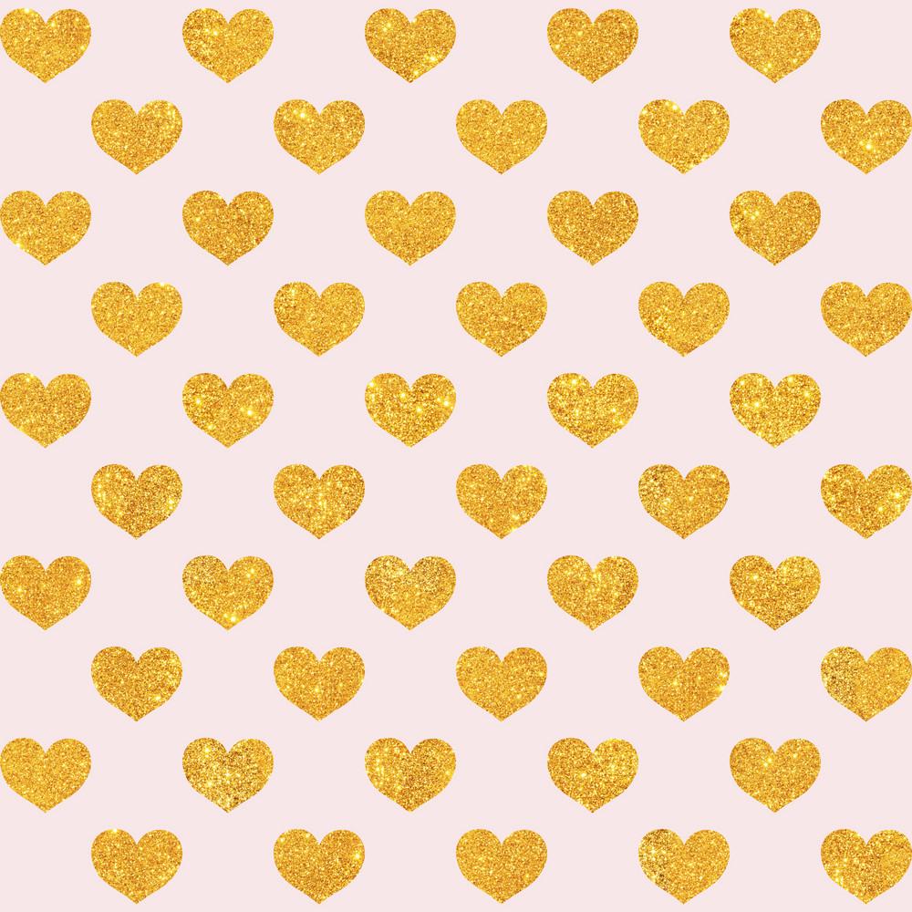 Gold Glitter Hearts Pattern On A Light Pink Background