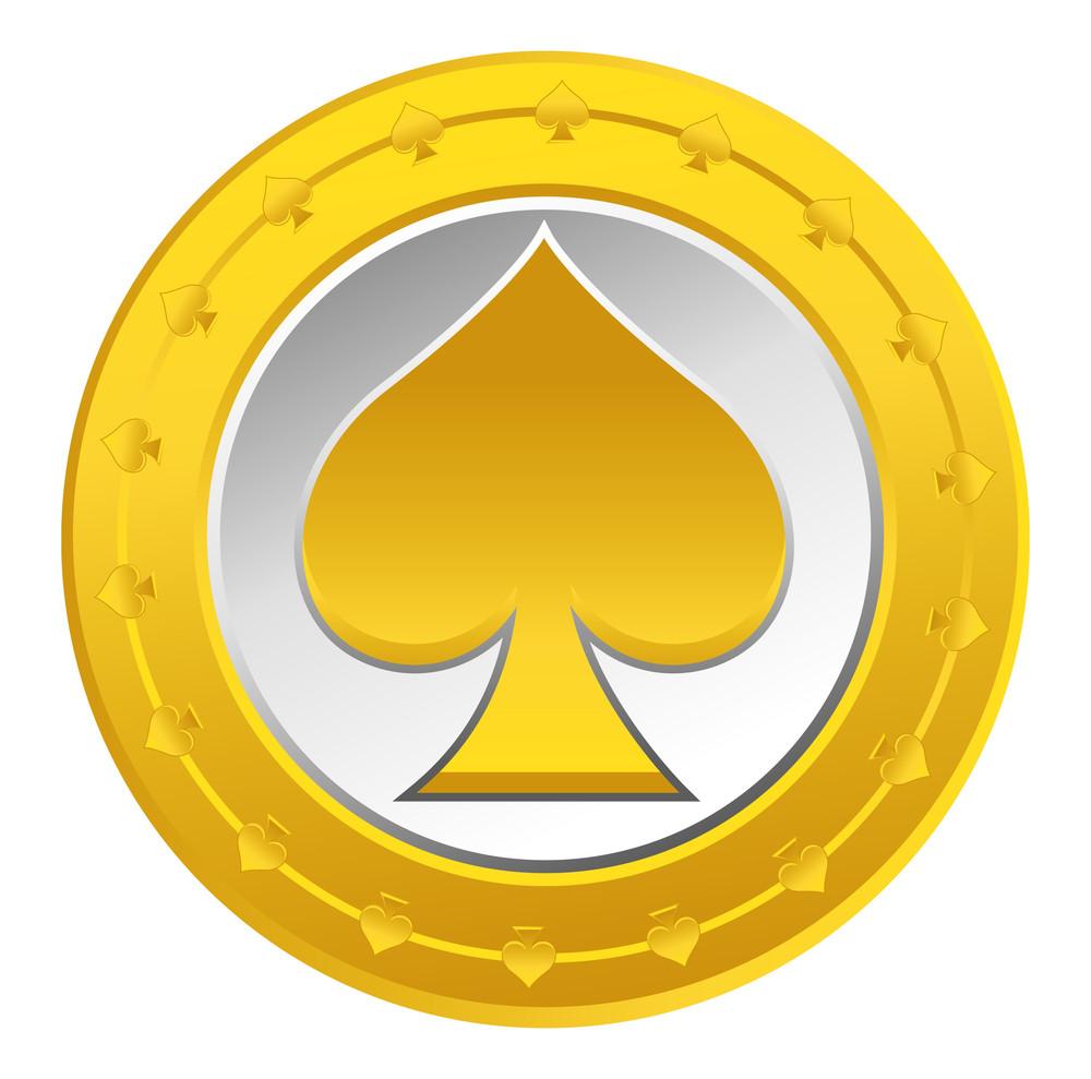 Gold Heart Coin Vector
