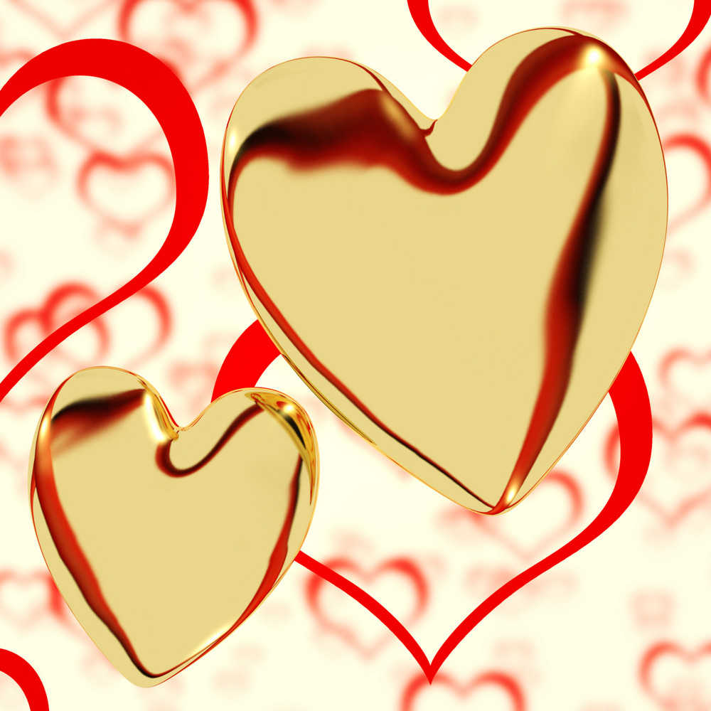 Gold Hearts On A Heart Background Showing Love Romance And Romantic Feelings