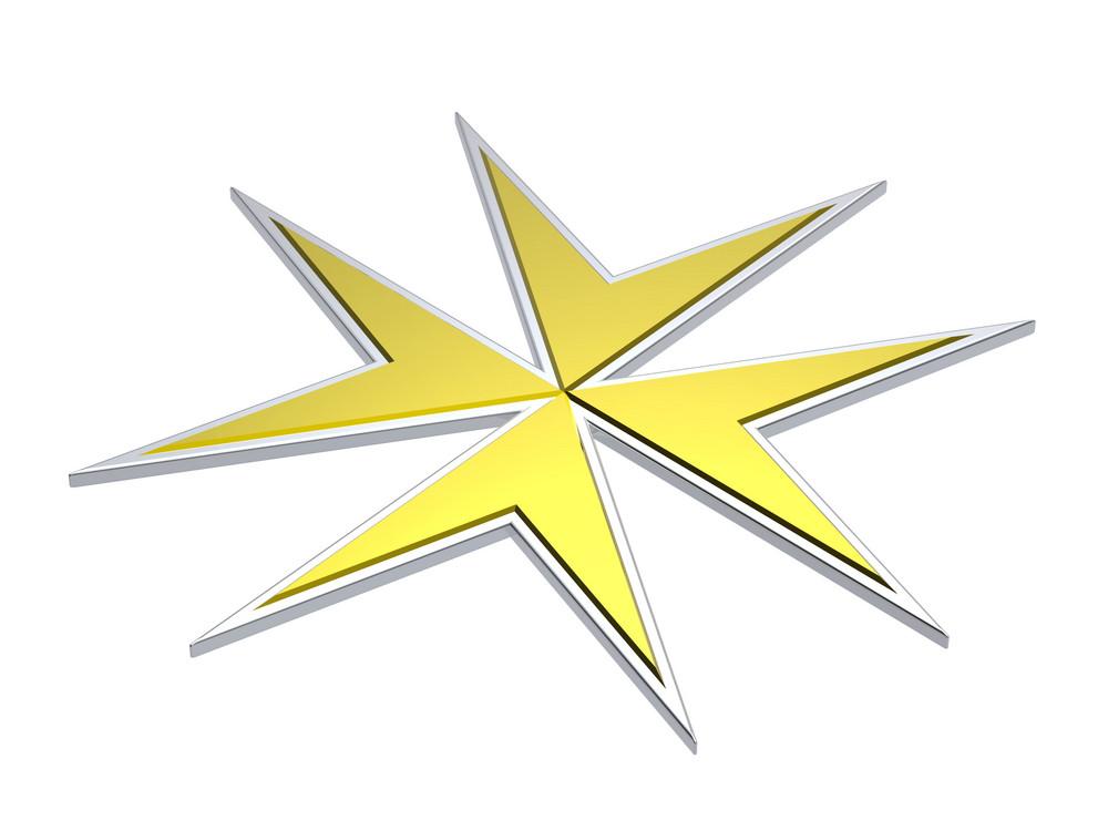 Gold Maltese Cross Isolated On White.