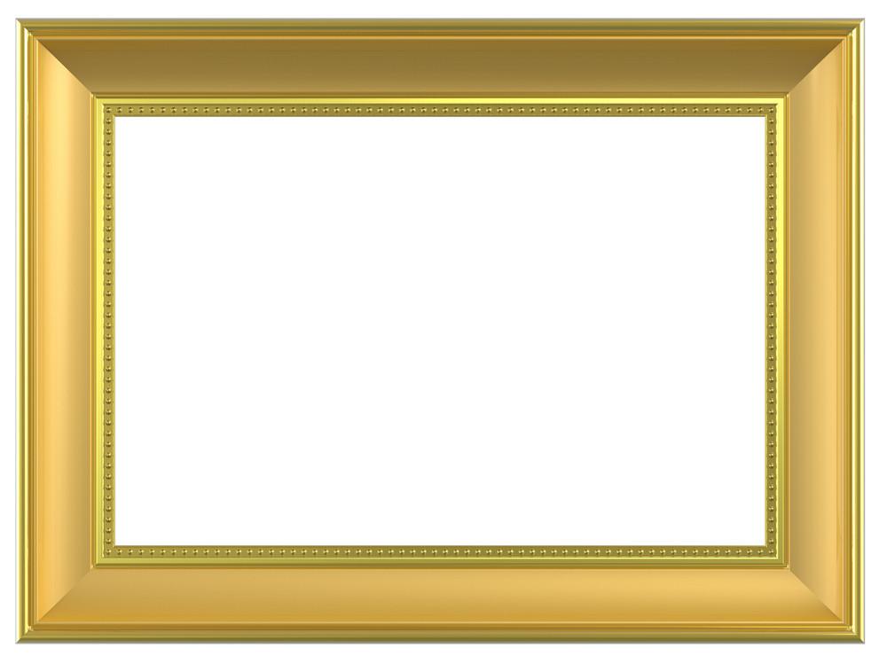 Gold Rectangular Frame Isolated On White Background.