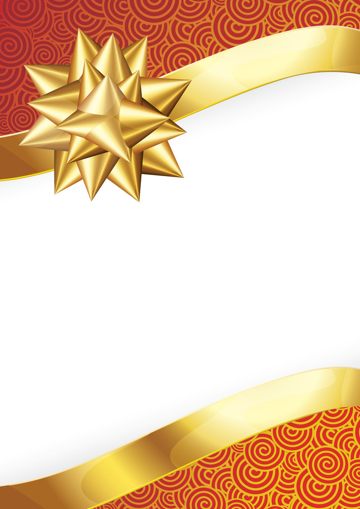 Gold Ribbon Bow. Vector.