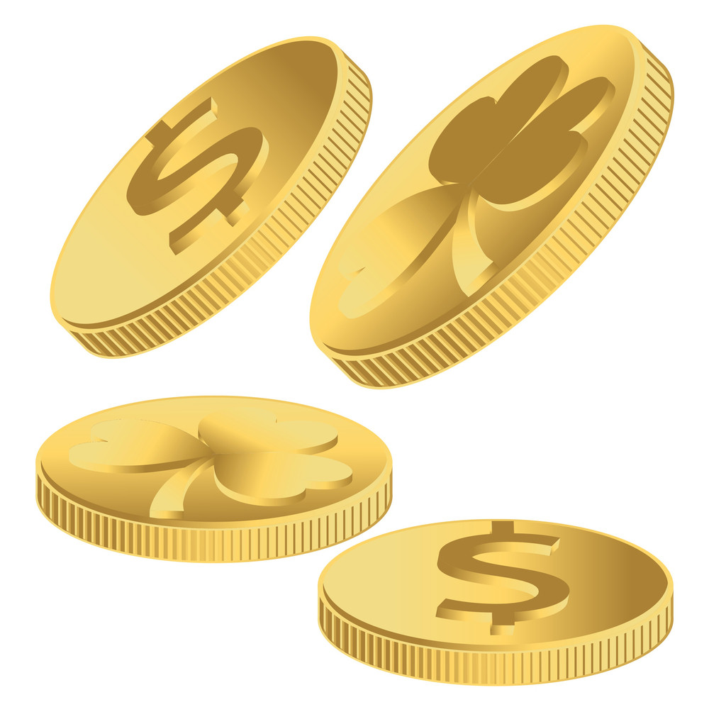 Gold Shamrock And Dollar Coins