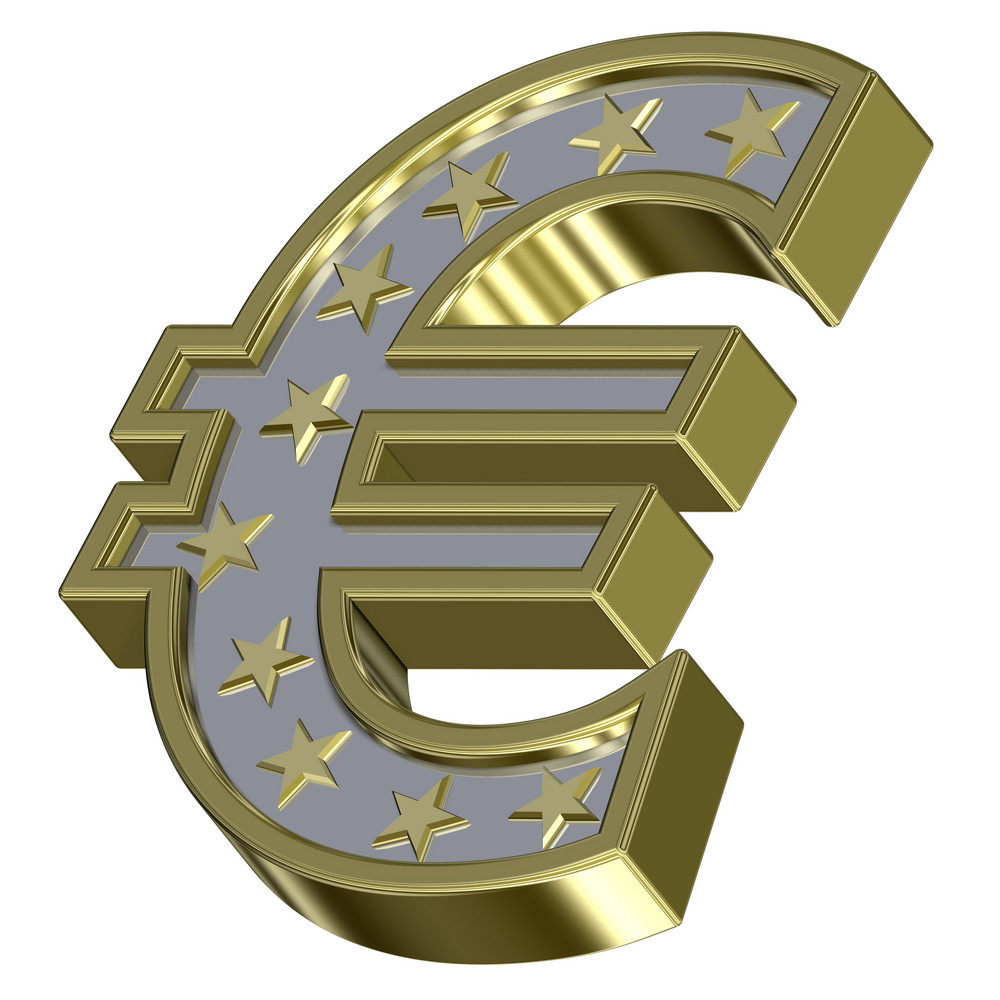 Gold-silver Euro Sign With Stars Isolated On White