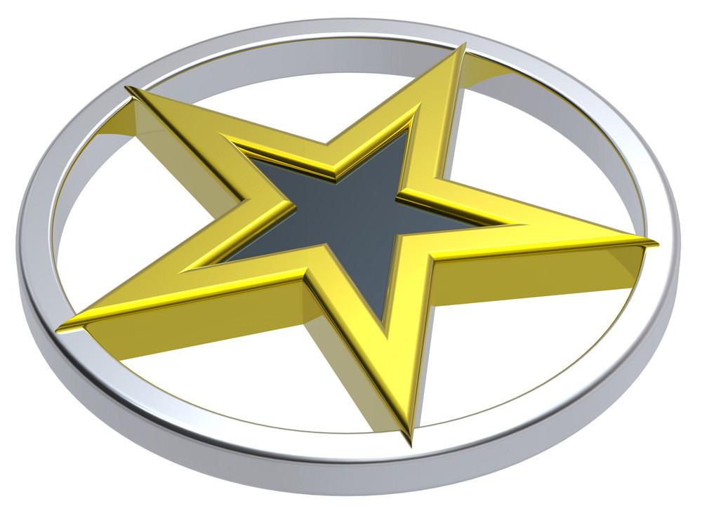Gold Star In A Chrome Circle