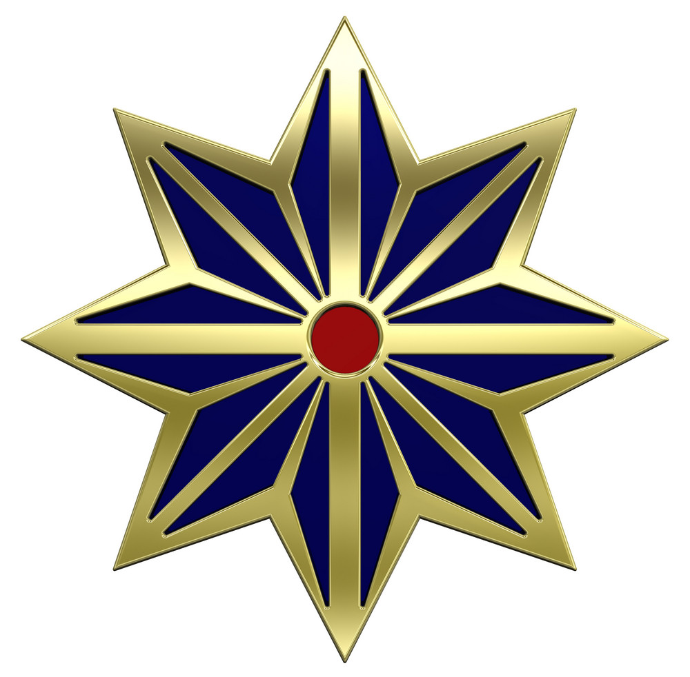 Gold Star With Blue.