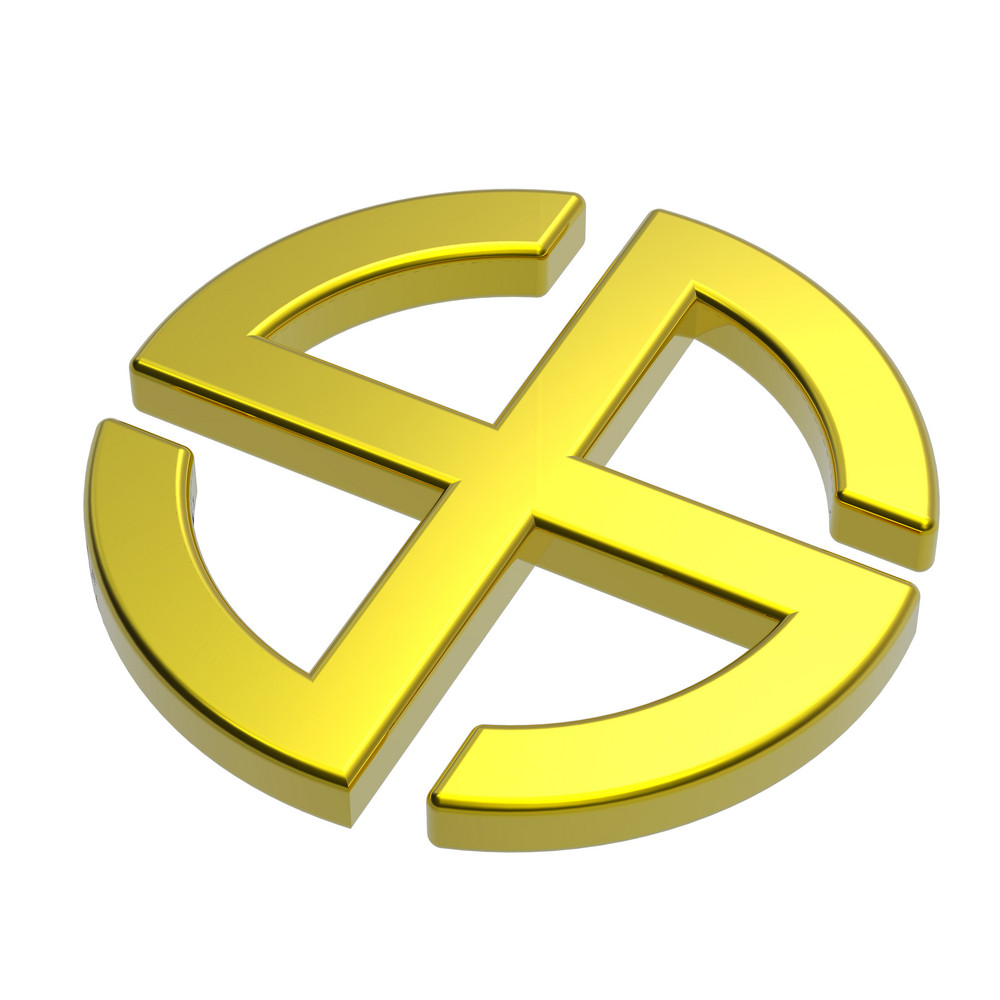 Gold Sun Cross Symbol - Broken Crossed Circle Isolated On The White.