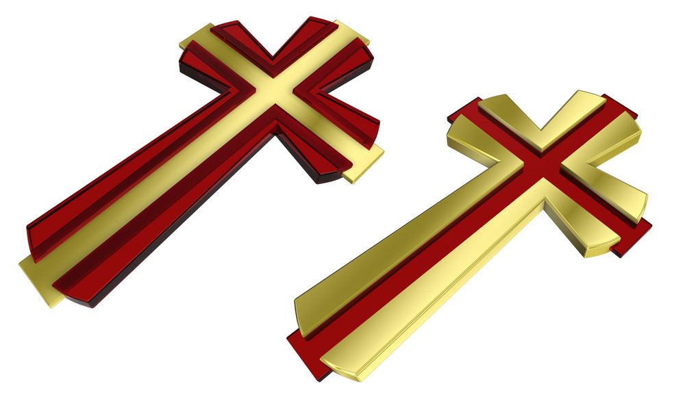 Gold With Ruby Christian Cross Isolated On White.