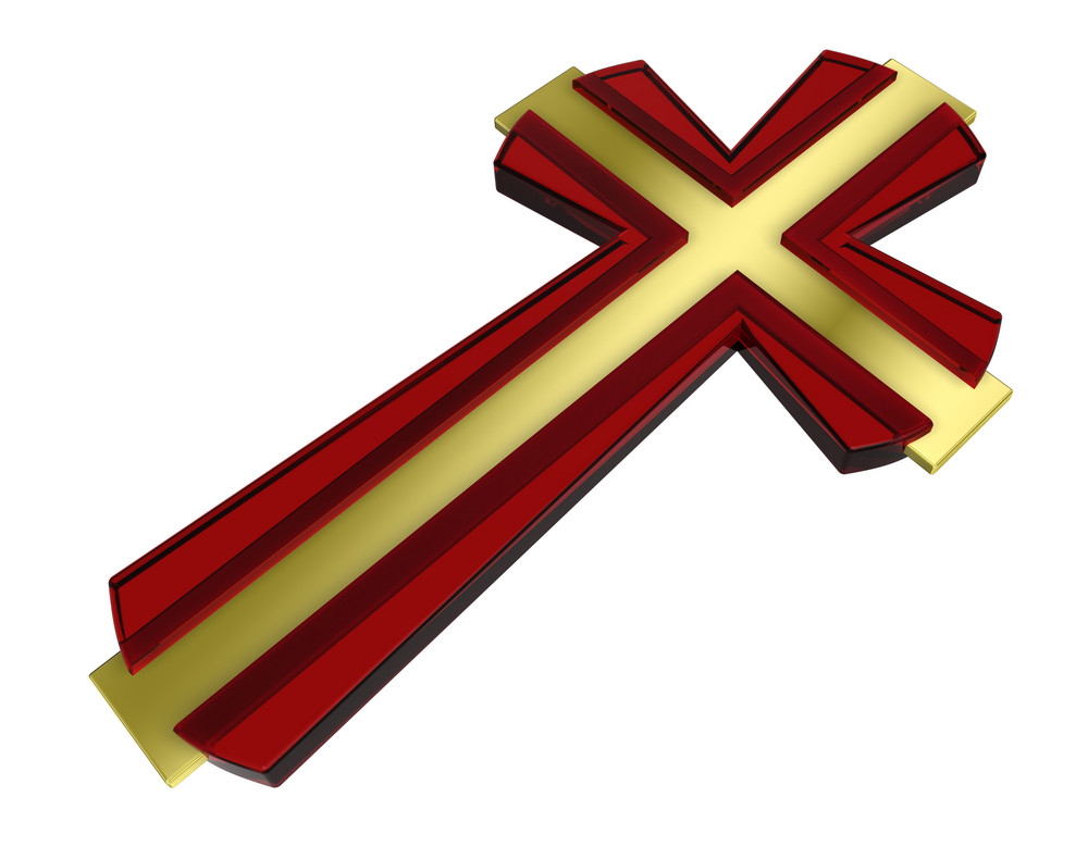 Gold With Ruby Frame Christian Cross Isolated On White.