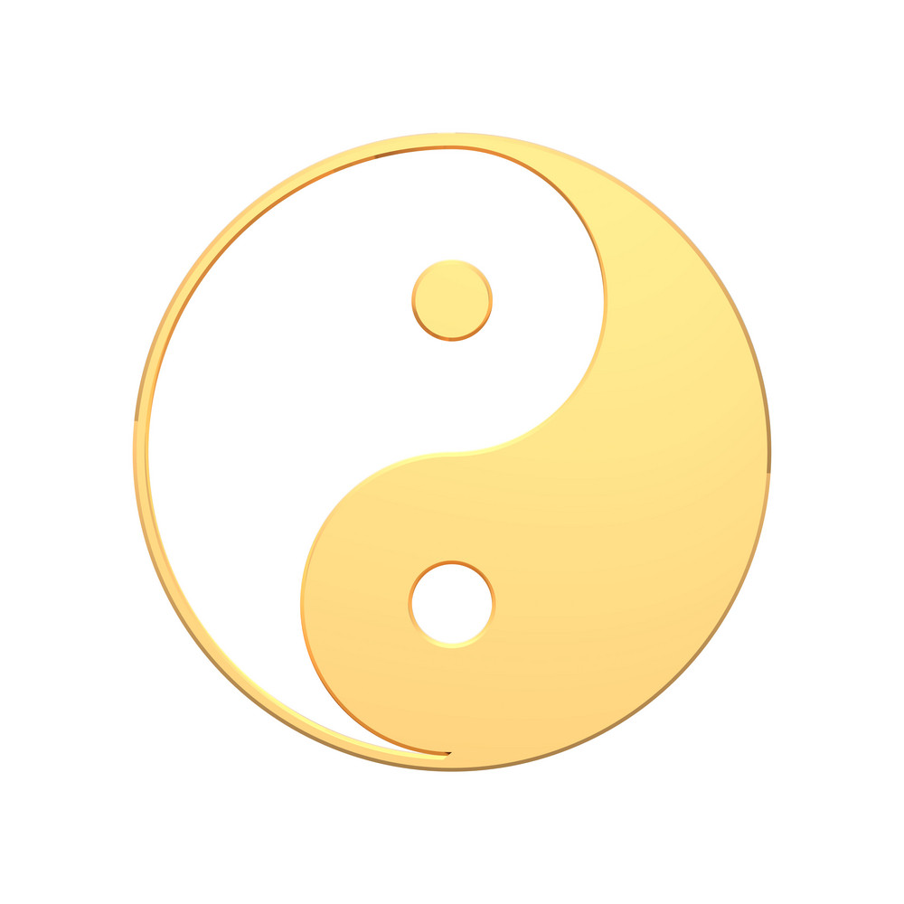 Gold Yin-yang, Symbol Of Harmony.