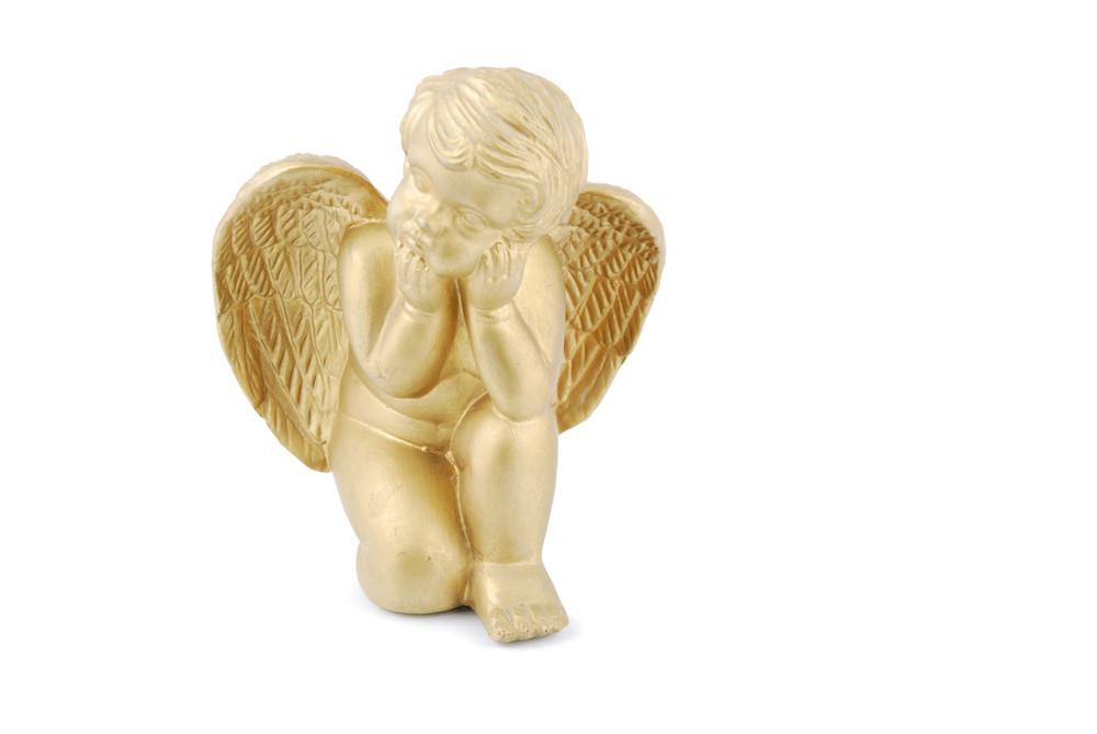 Golden Angel On White