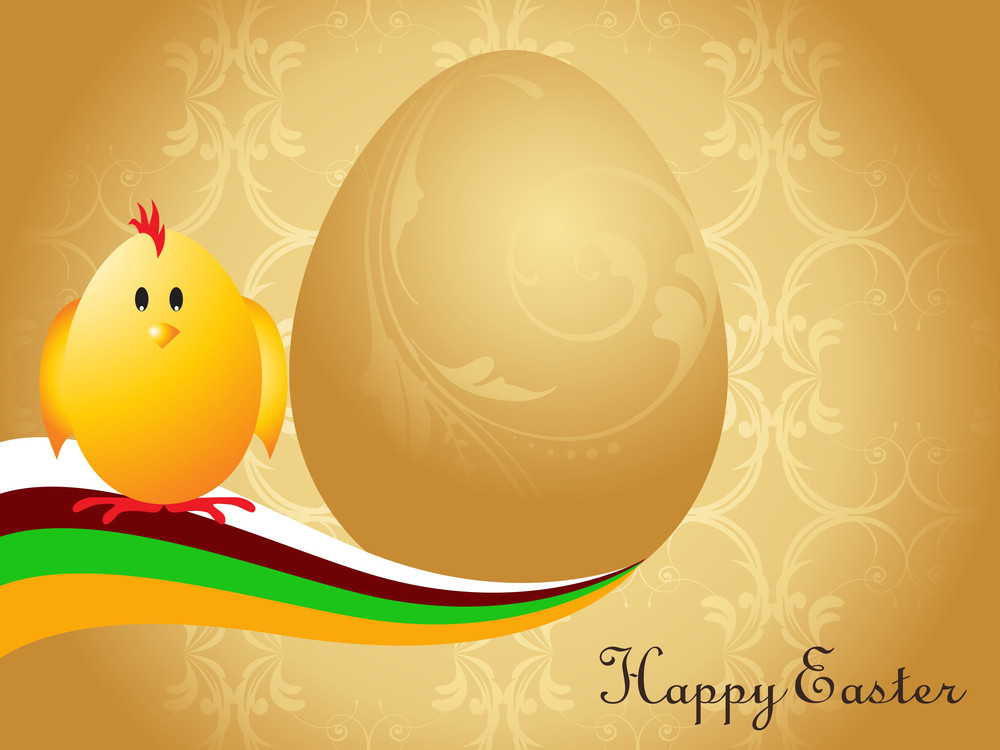 Golden Background With Egg