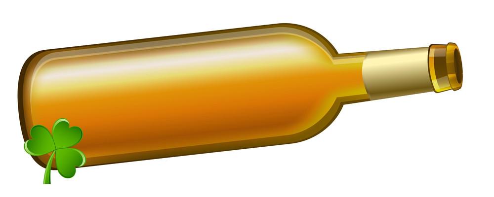 Golden Beer Bottle With Clover Leaf