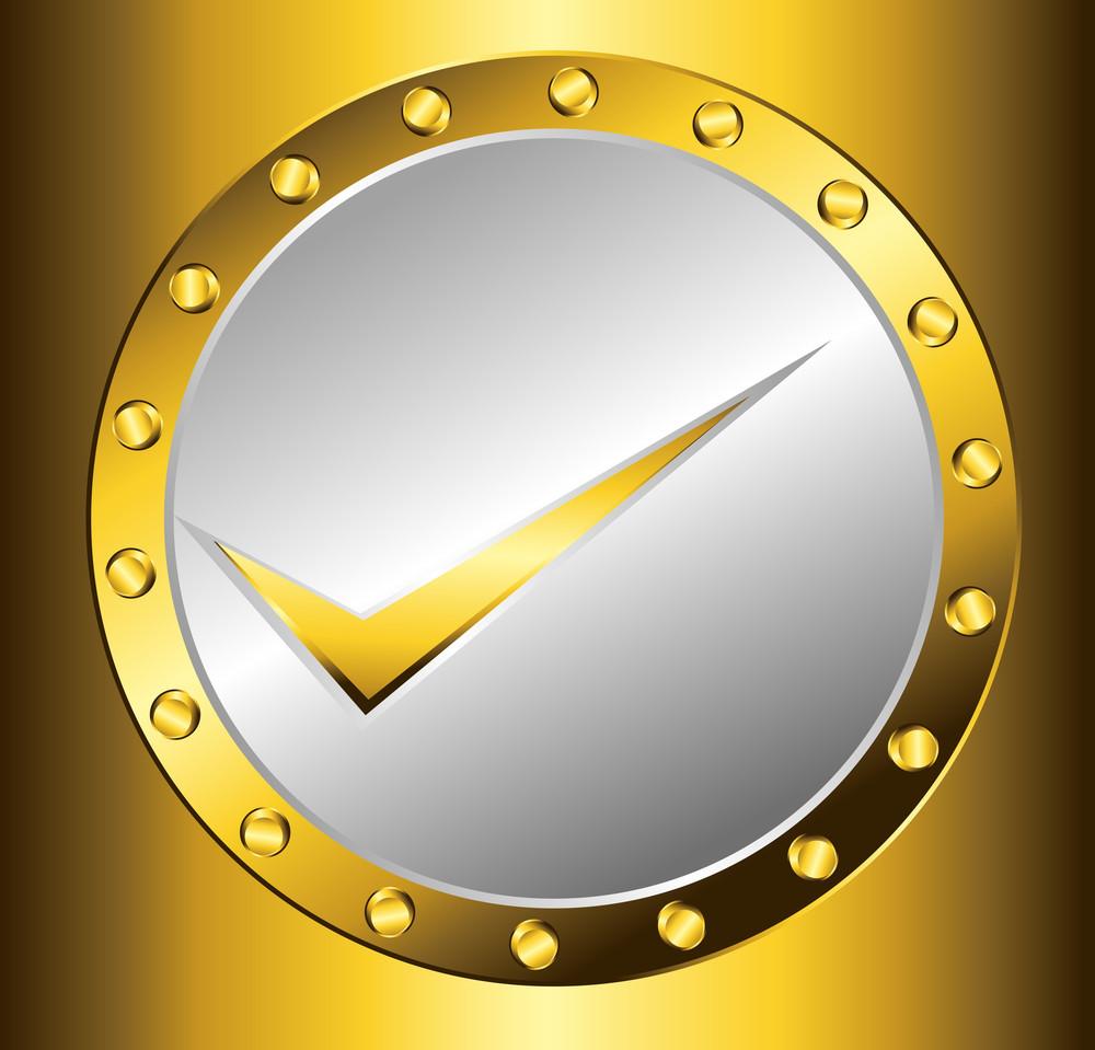 Golden Check Mark Coin Vector