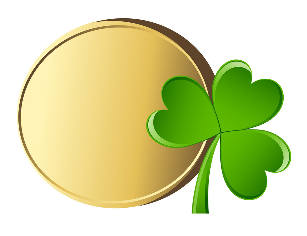 Golden Coin With Shamrock
