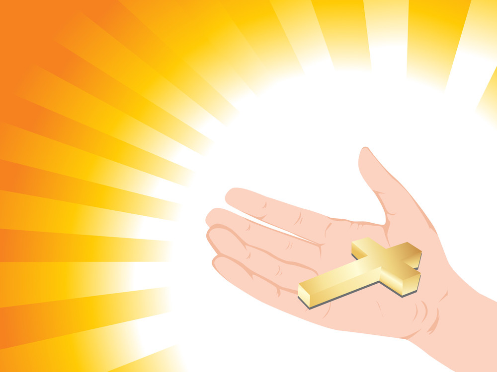 Golden Cross On Hand With Background