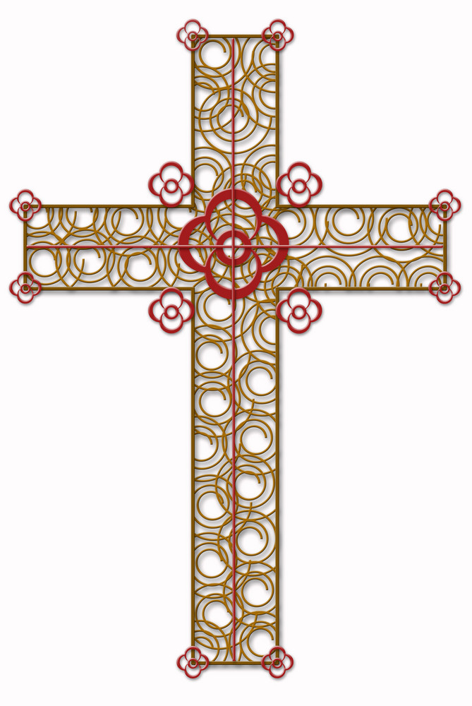 Golden  Cross With Red  Element