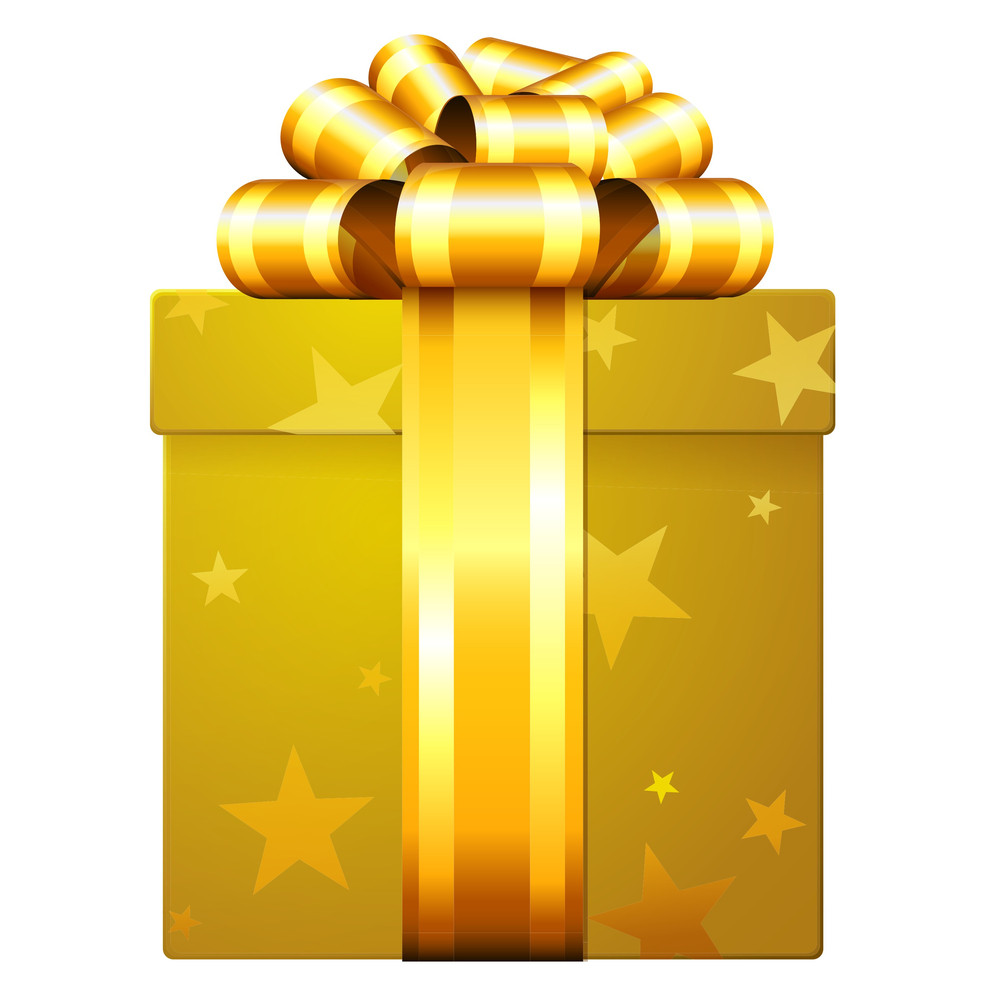 Golden Decorated Shining Gift Box With Golden Ribbon And Bow.