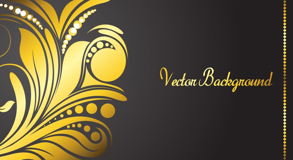 Golden Floral Banner Vector
