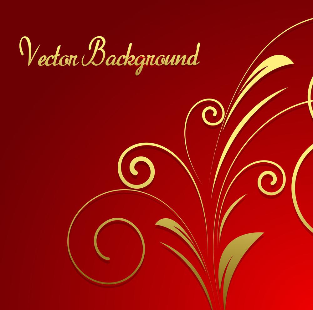 Golden Floral Christmas Background