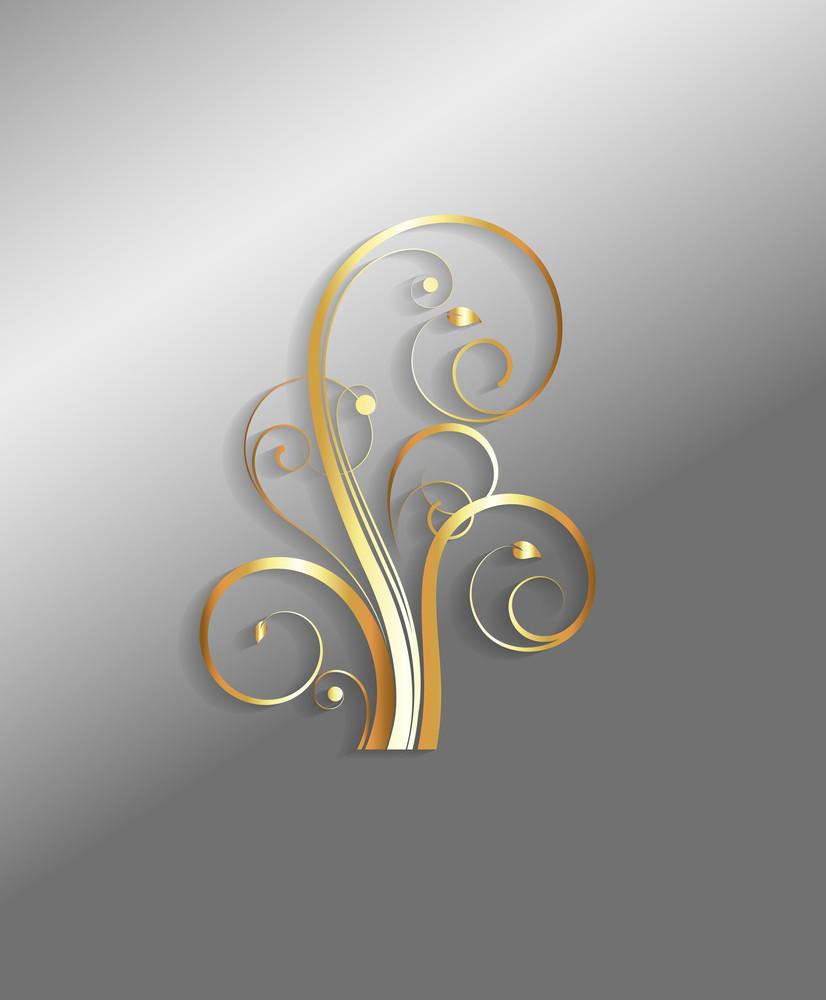 Golden Floral Christmas Design