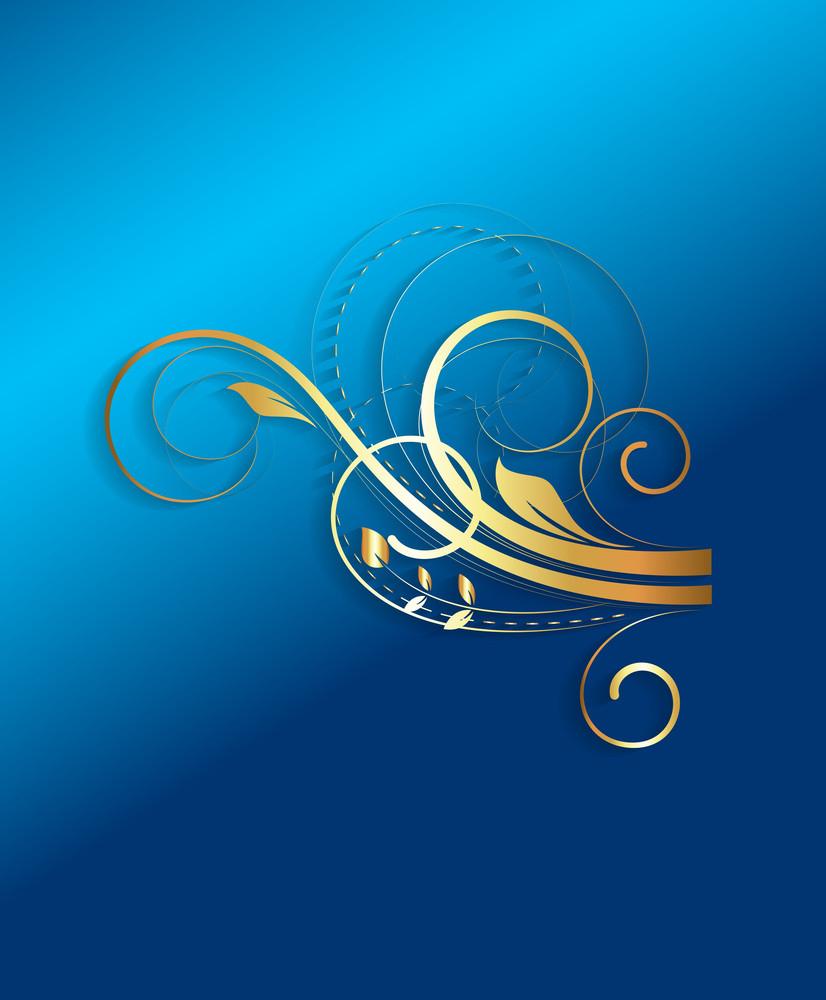 Golden Floral Design Art