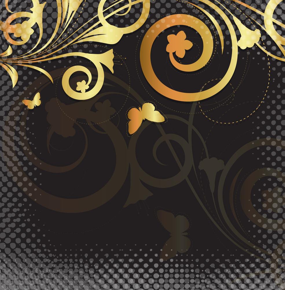 Golden Floral Halftone Backdrop