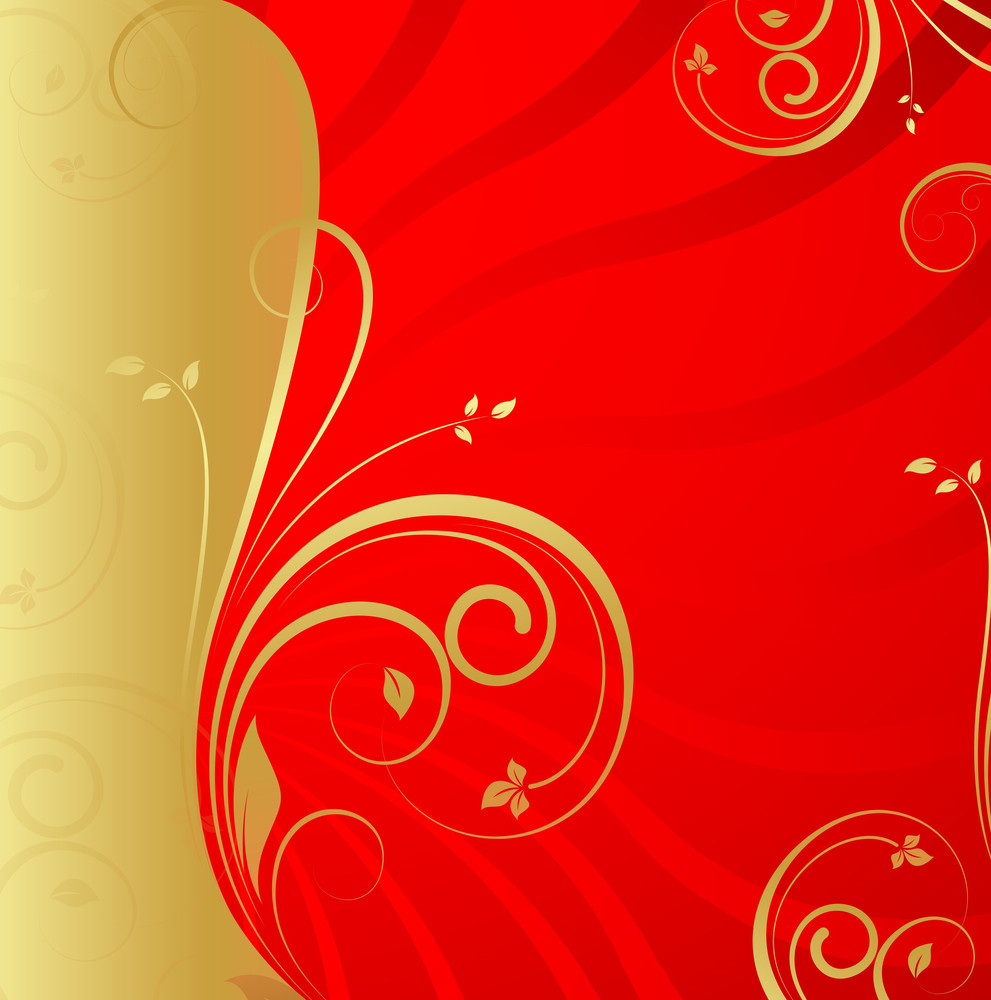 Golden Floral Xmas Background