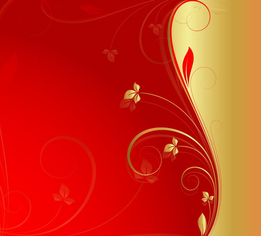 Golden Floral Xmas Background