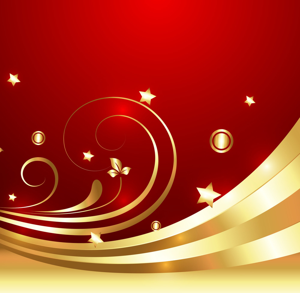 Golden Flourish Decorative Sparkles Background