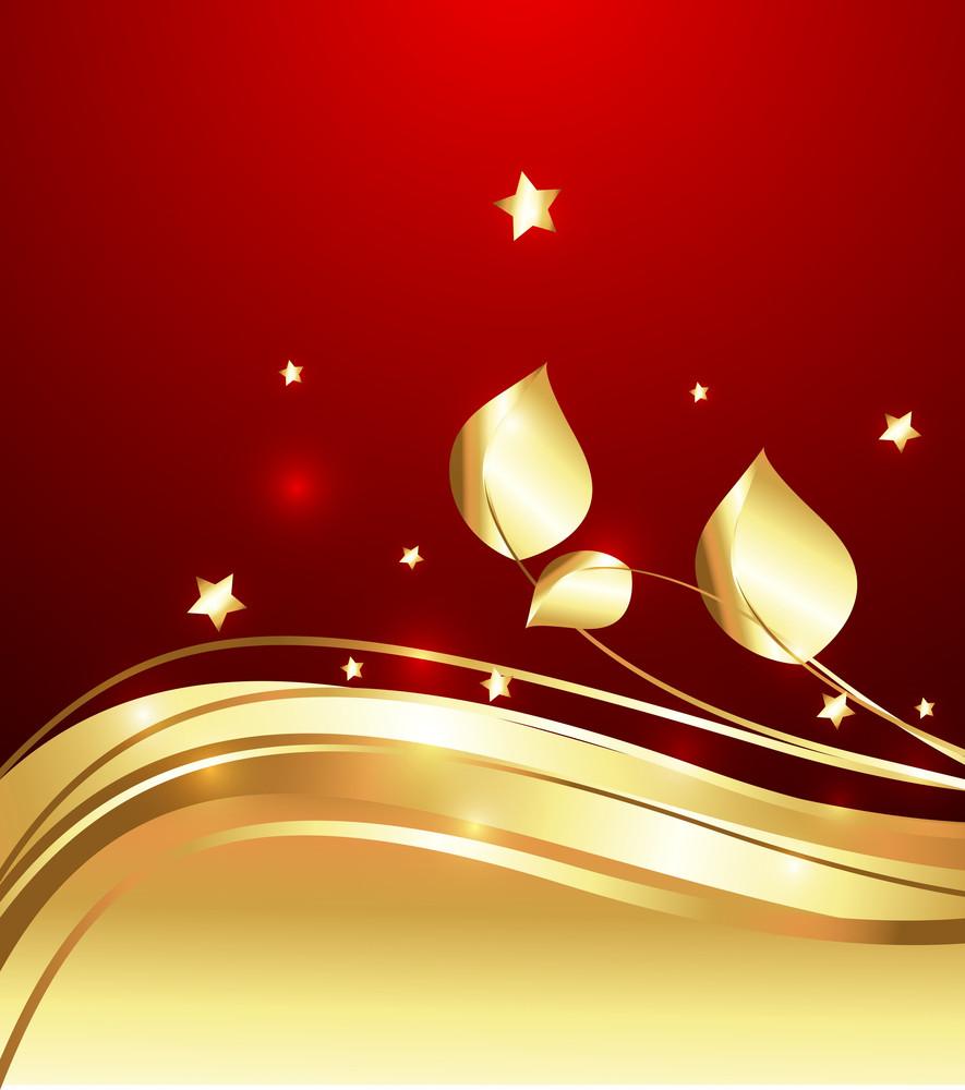 Golden Flourish Decorative Sparkles Background