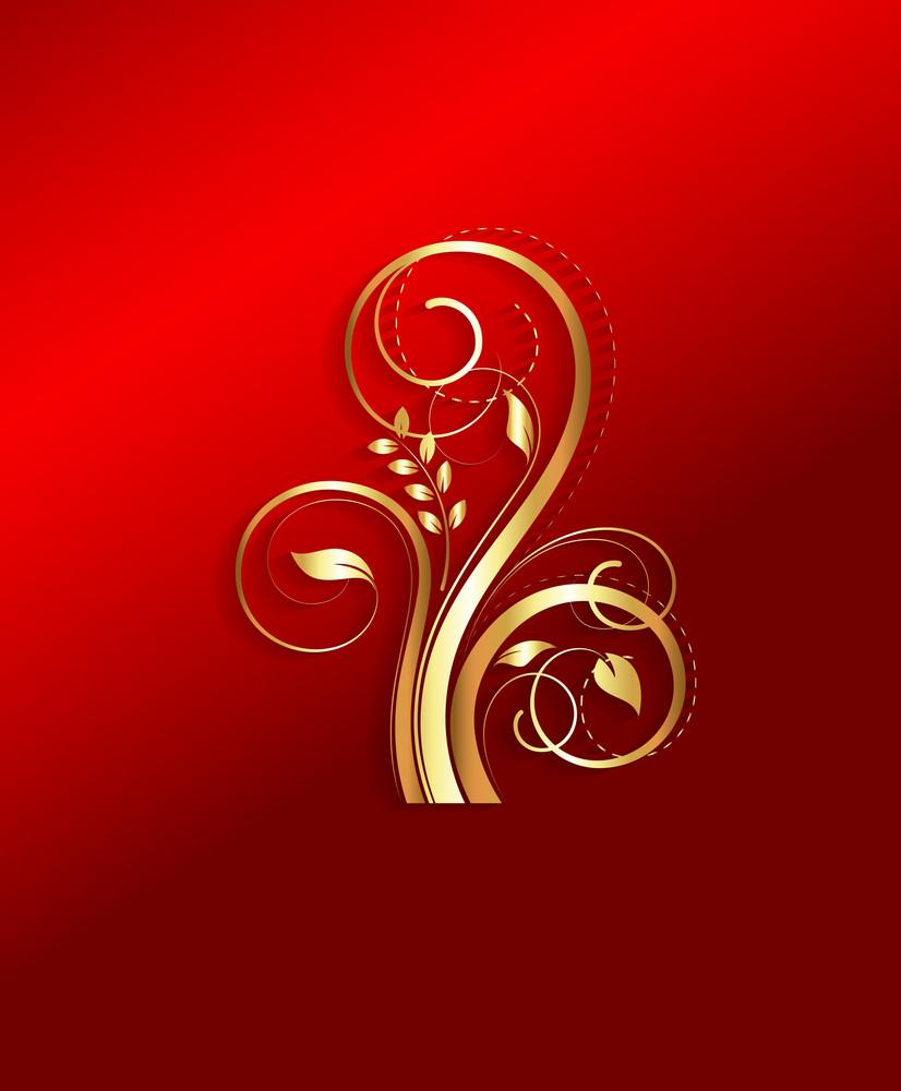 Golden Flourish Design Element Vector