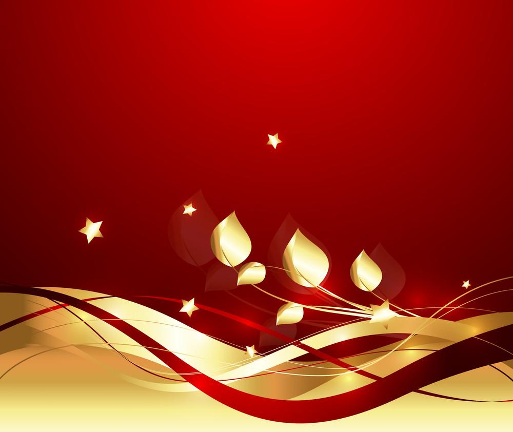 Golden Flourish Wavy Sparkles Background