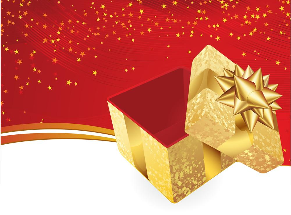 Golden Gift Box. Vector Background.