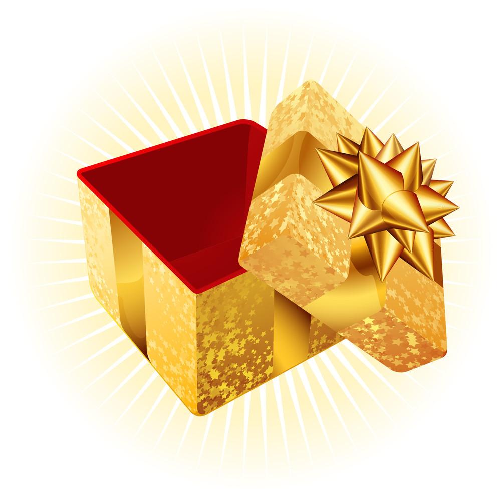 Golden Gift Box. Vector.