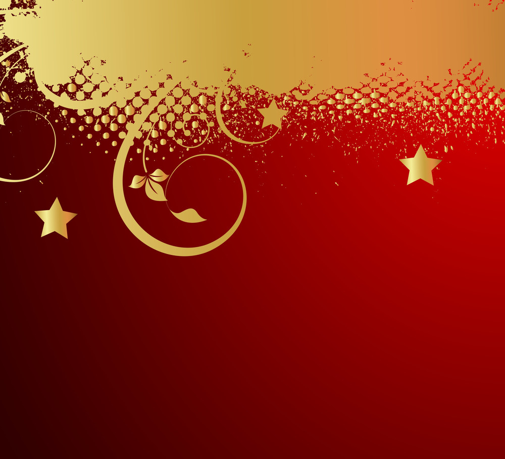 Golden Grunge Flourish Christmas Background