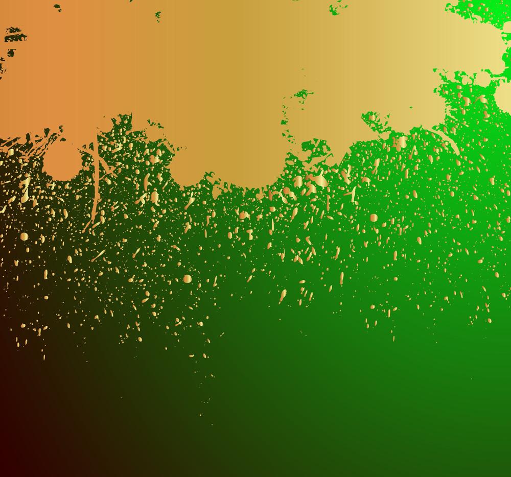 Golden Grunge Paint Dripping Background