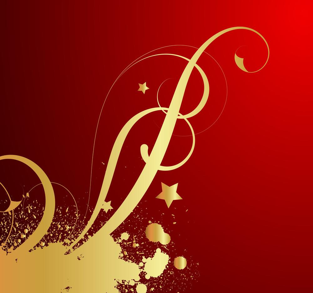 Golden Grunge Splash Floral Design
