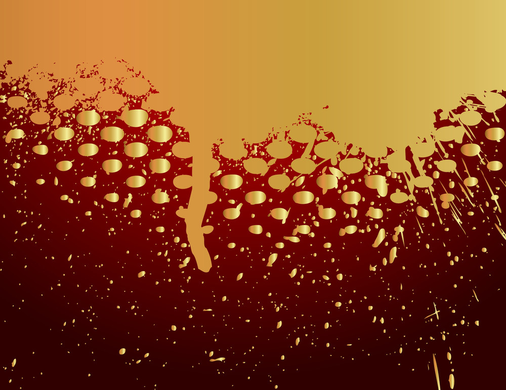 Golden Halftone Grunge Paint Dripping